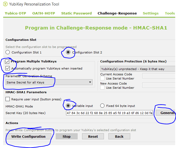 Config Slot 2, Program Multiple Keys checked, Automatically program YubiKeys when inserted checked, select Same Secret for all Keys under Parameter generation Scheme, under HMAC-SHA1 Parameters choose variable input, click Generate, click Write Configuration