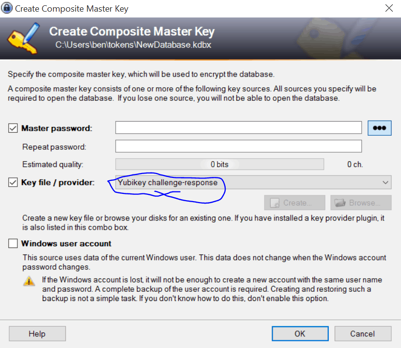 KeePass Create Composite Master Key Screen. Master password is checked. Key file / provider is checked and Yubikey challange-response is selected.