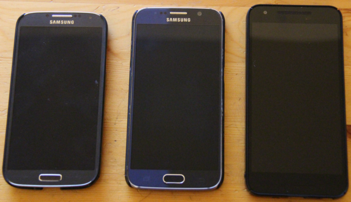Side by side photo of S4, S6, and Nexus 5X
