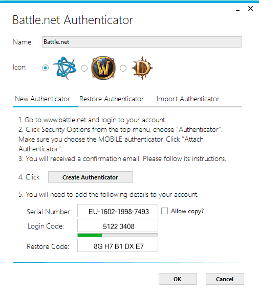 WinAuth Screenshot of generating a Battle.net Authenticator