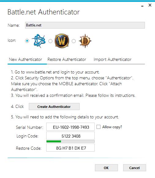 WinAuth Screenshot of generating a Battle.net Authenticator