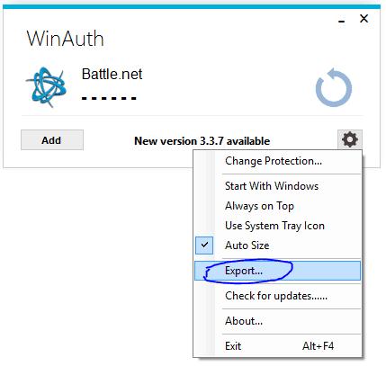Screenshot of WinAuth. Click on Gear, Choose Export.