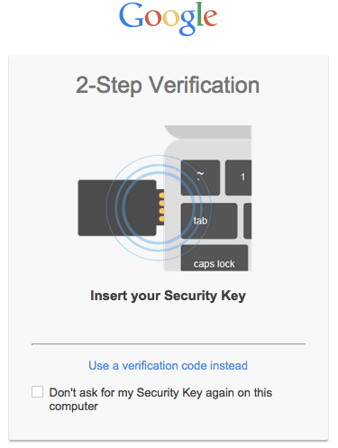 Google 2-Step Verification Screenshot. Instructions say Insert your Security Key (showing graphic of YubiKey inserting into USB port)