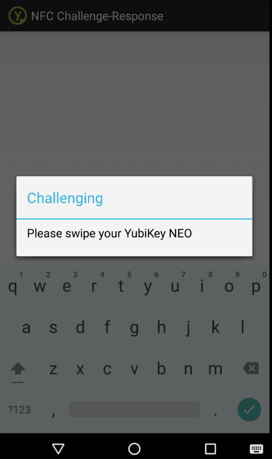 KeePass2Droid Screenshot. Dialog says Challenging, Please swite your YubiKey NEO.