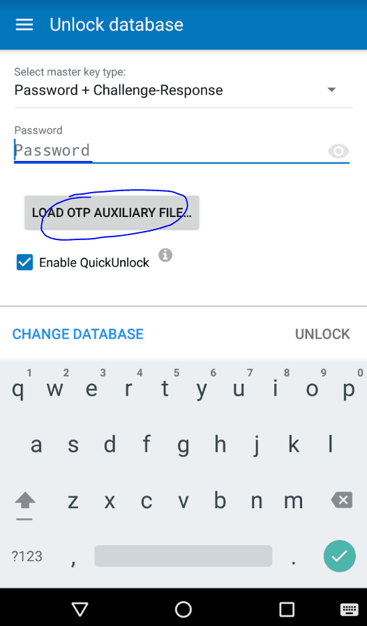 KeePass2Droid screenshot. Select master key type set to Password + Challange-Response. Click Load OTP Auxiliary File.