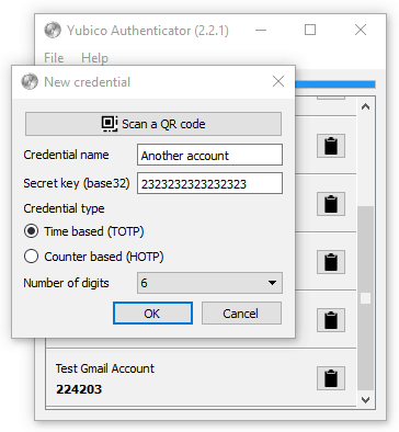 Yubico Authenticator showing New Credential screen