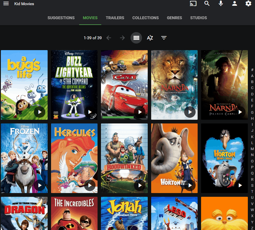 Screenshot of Emby's Movies Page