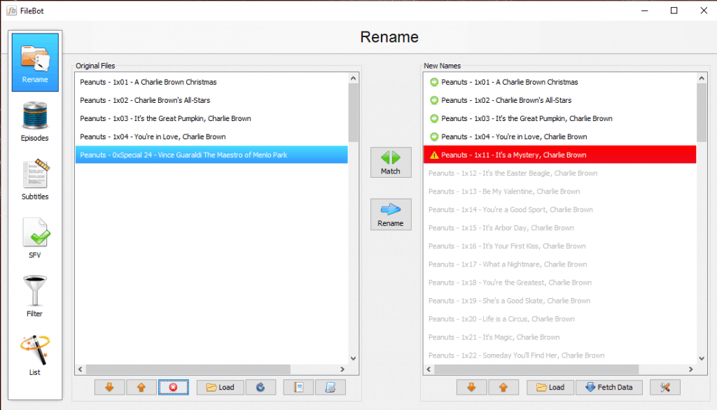 FileBot Screenshot Selecting files for rename