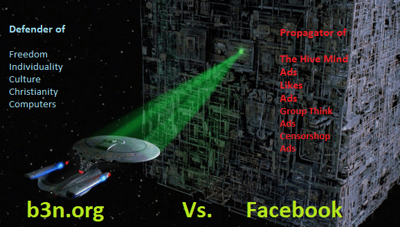 Defender (Star Trek USS Enterprise) of Freedom vs Facebook (Borg ship)