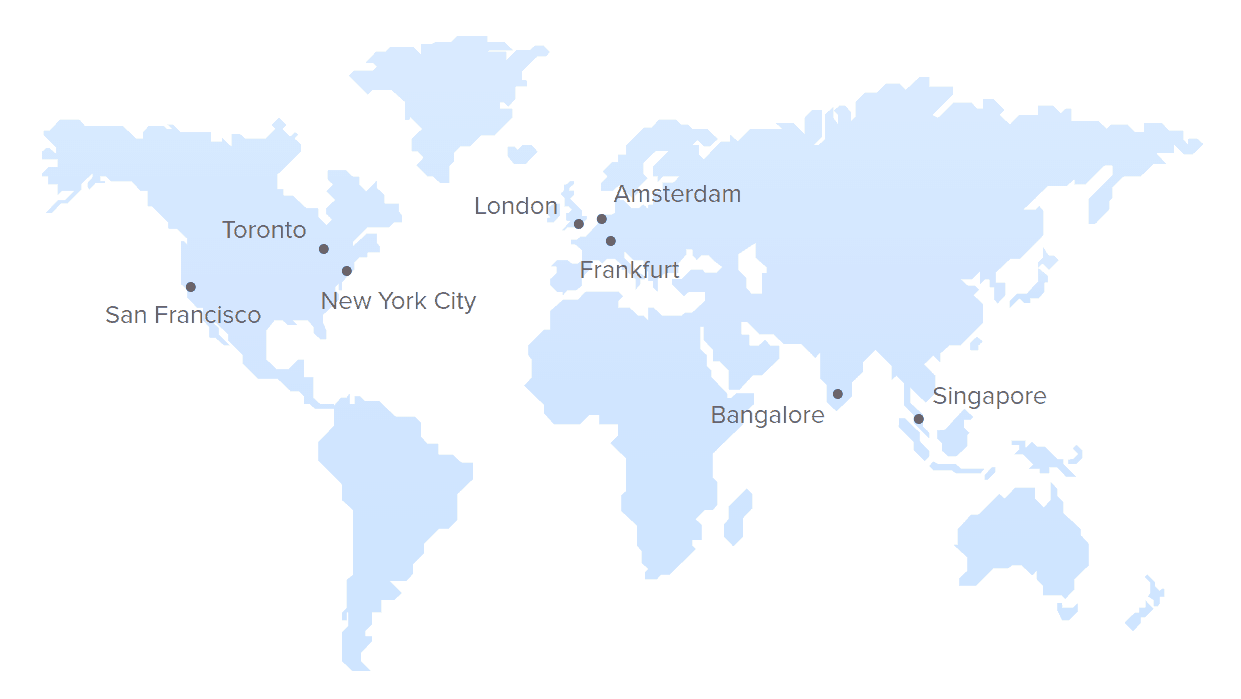 DigitalOcean World Map showing DC locations in Toronto, San Francisco, New York City, London, Amsterdam, Frankfurt, Bangalore, and Singapore