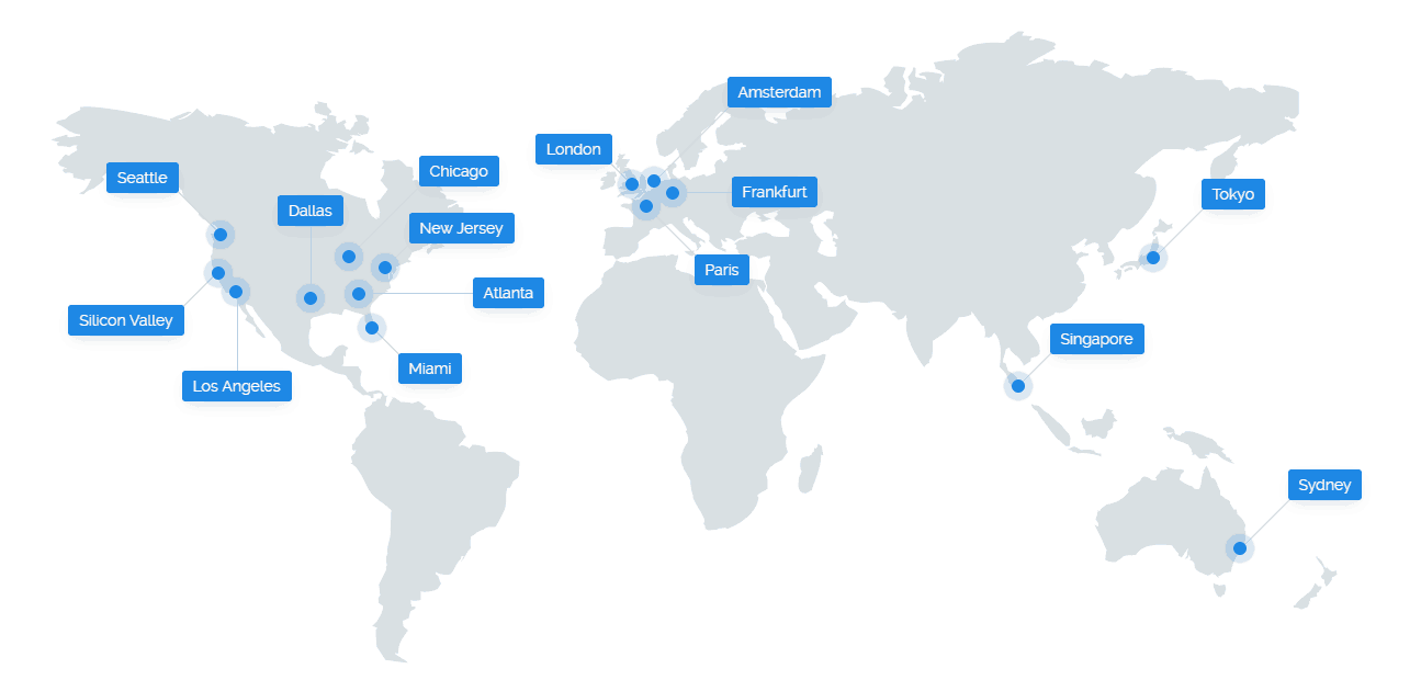 Vultr map showing DC locations in Seattle, Silicon Valley, Los Angeles, Dallas, Miami, Atlanta, New Jersey, Chicago, London, Frankfurt, Amsterdam, Paris, Singapore, Tokyo, Sydney