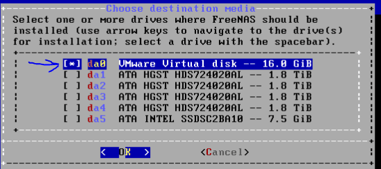 Install FreeNAS to VMDK