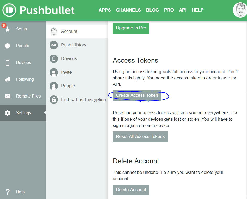 PushBullet Access Token