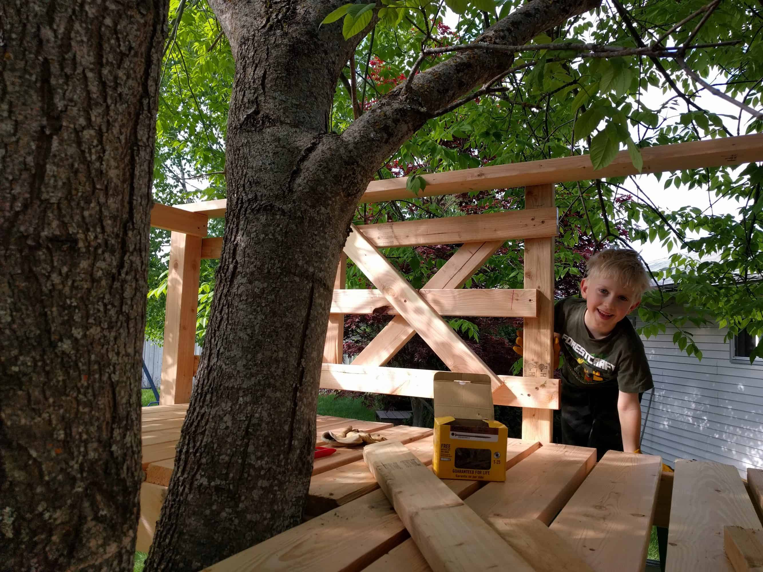 Eli at a side entrace to the tree house, last wall built with an X pattern