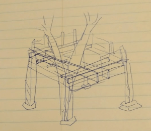 Pen drawing of treehouse design