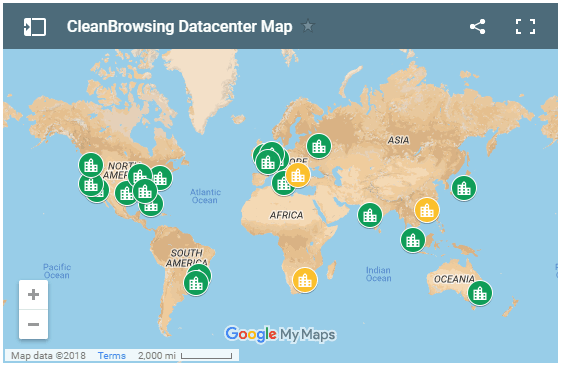 CleanBrowsing DNS Filtering Map