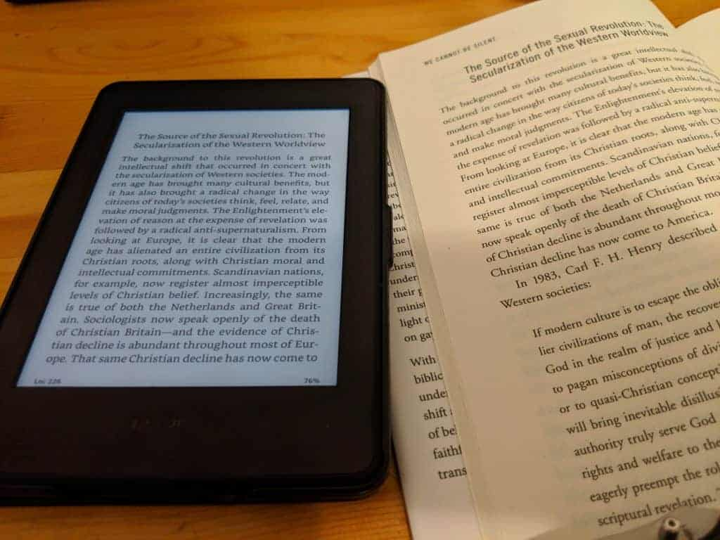 Kindle Paperwhite vs Book