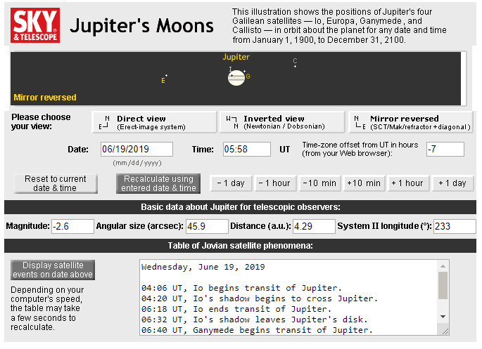 Jupiter and moon positions