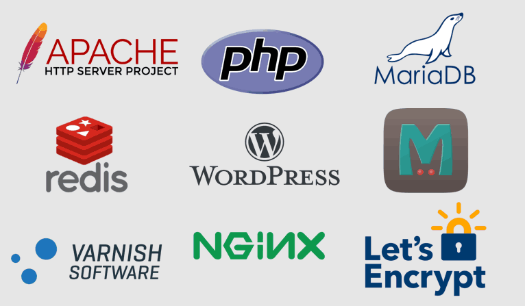 Logos of Apache, PHP, MariaDB, redis, WordPress, Memcache, Varnish, NGINX, and Let's Encrypt