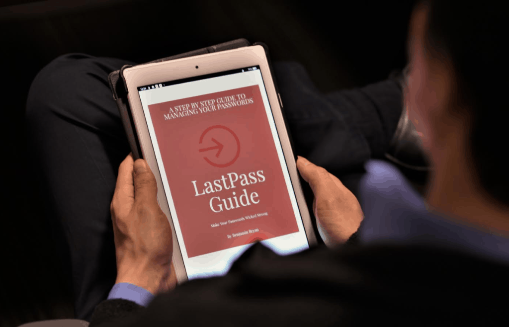 Jordan reading the LastPass Guide