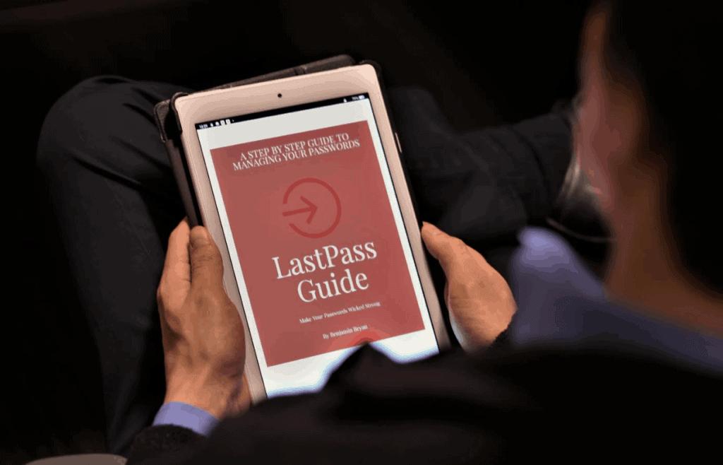 Jordan reading the LastPass Guide