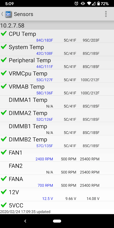 Supermicro Phone app showing Temp High