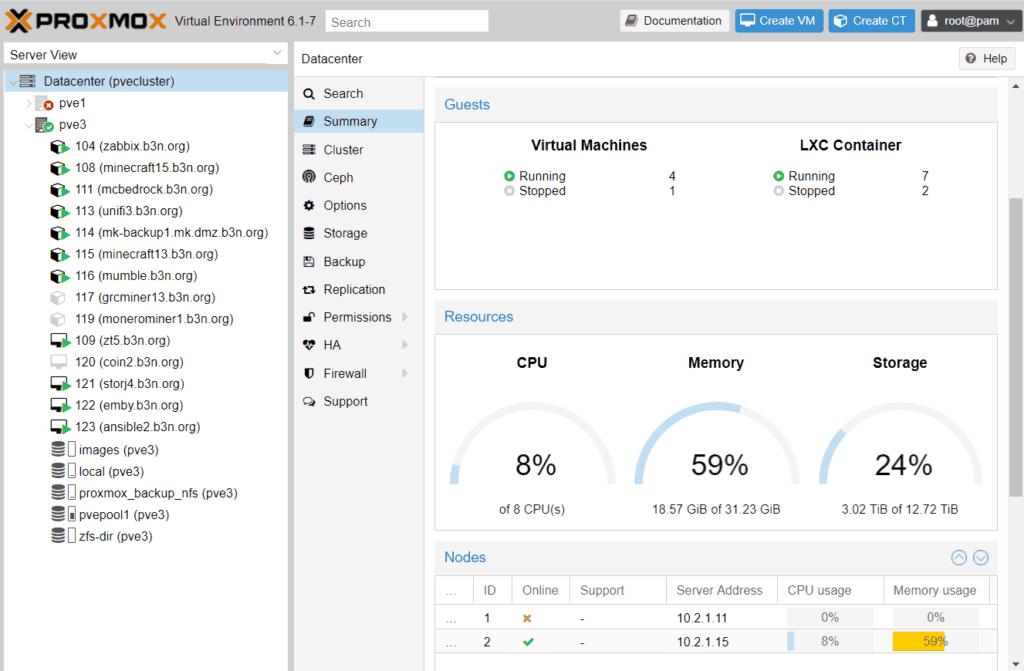Proxmox screenshot