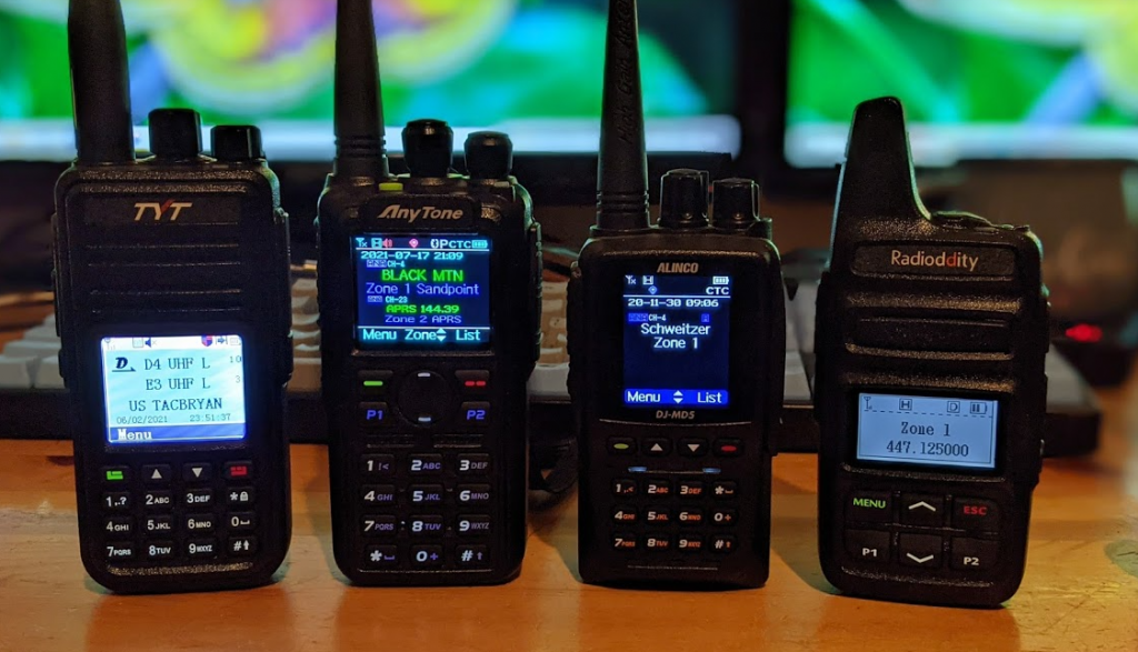 Comparison of the TYT MD-UV380,  AnyTone AT-D878UVII Plus, Alinco DJMD5TGP, and Radioditty 73A.