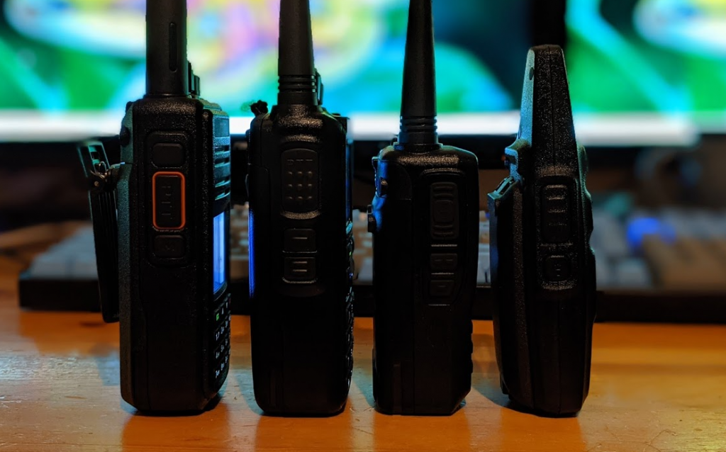 Side profile comparison of the TYT MD-UV380,  AnyTone AT-D878UVII Plus, Alinco DJMD5TGP, and Radioditty 73A.